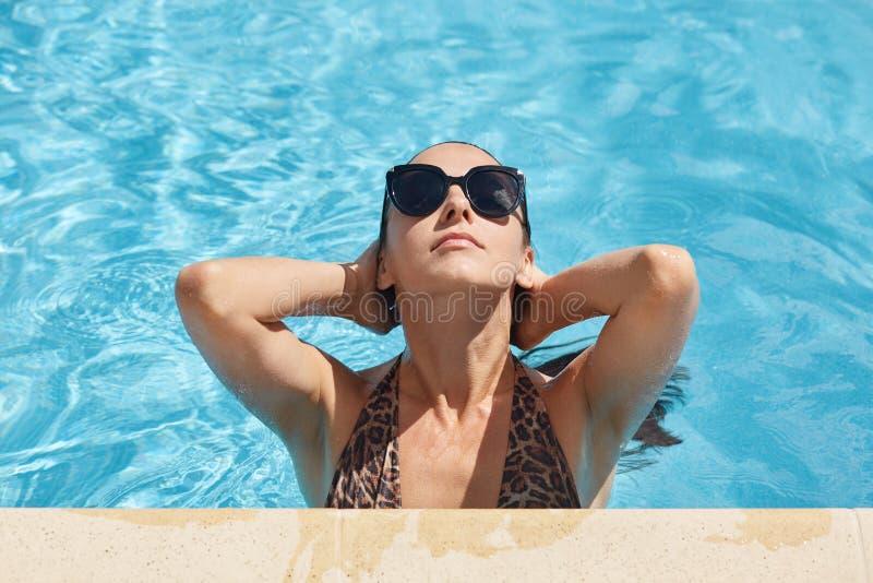 湿blackhair妇女的图象泳装的有摆在水池,佩带的时髦的玻璃的豹子印刷品的,查寻在天空,有豪华 库存图片