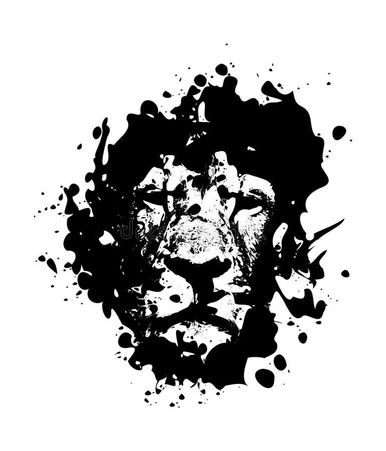 溅泼的样式狮子由墨水Splodges制成 库存例证