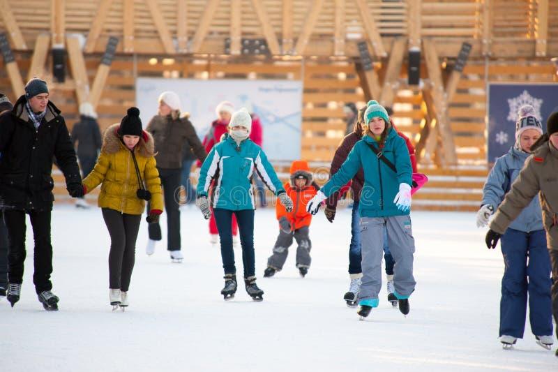 溜冰场在高尔基公园 库存照片