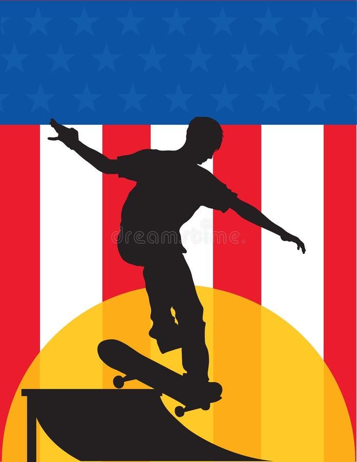 溜冰板者美国 向量例证
