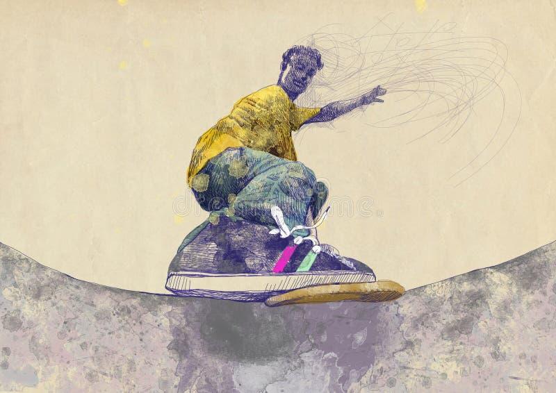 溜冰板者 库存例证