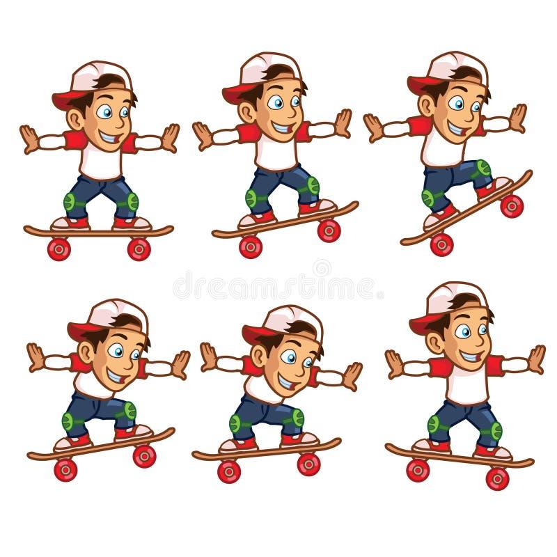 溜冰者男孩跳跃的动画片魍魉 向量例证