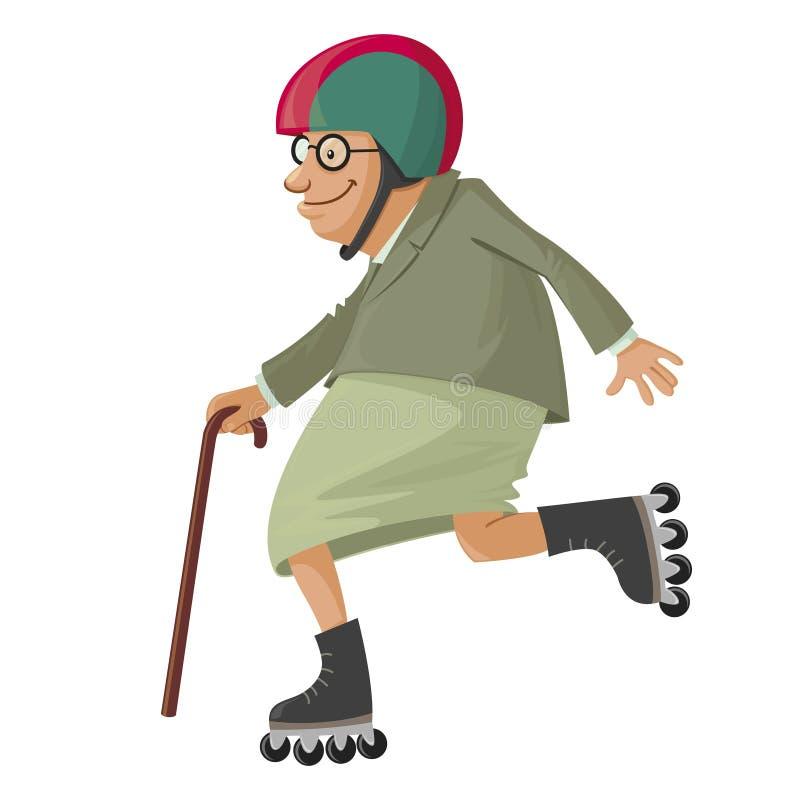 溜冰鞋的年长妇女 皇族释放例证