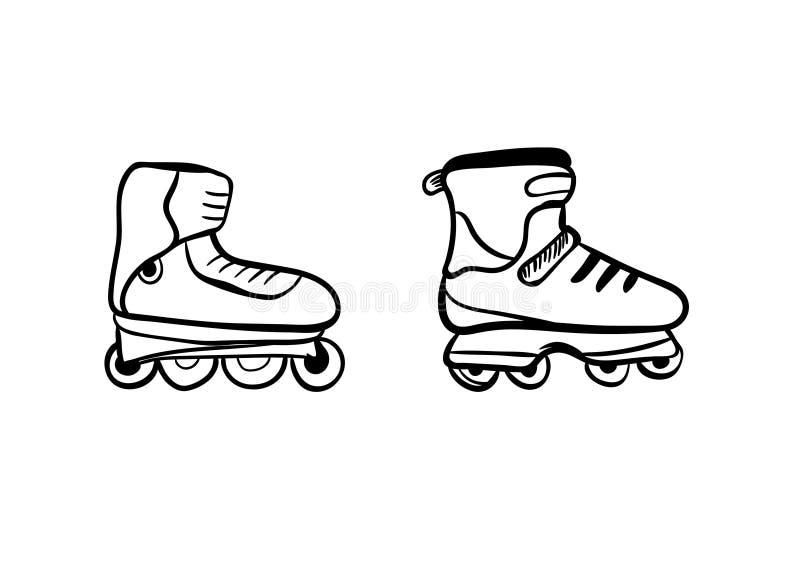 溜冰鞋起动男性和女性,或者女孩和男孩的 向量 向量例证