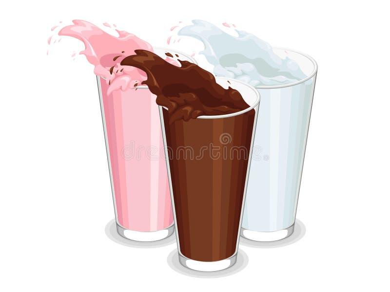 溢出的杯牛奶 皇族释放例证