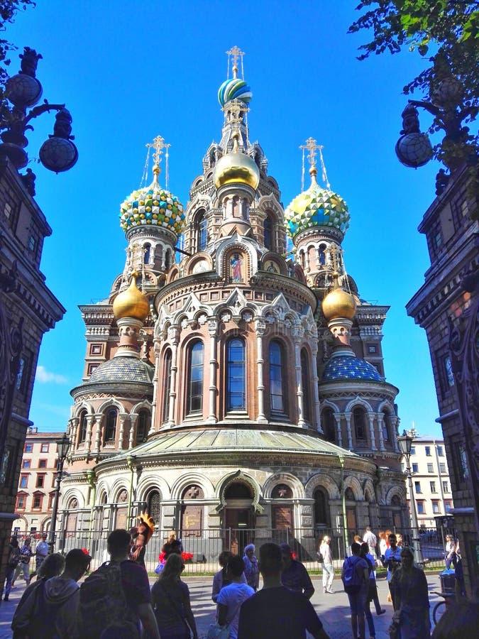 溢出的血液教会,圣彼德堡,俄罗斯 库存照片