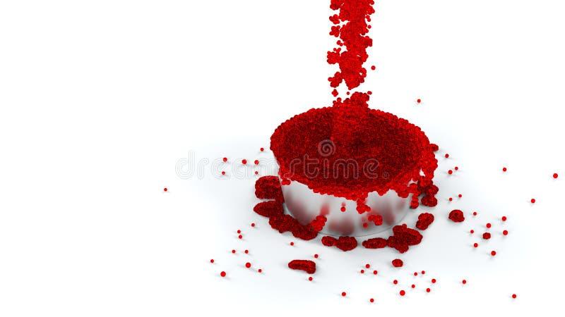 溢出的金属杯与许多的红色和稠粘的流体微小 皇族释放例证