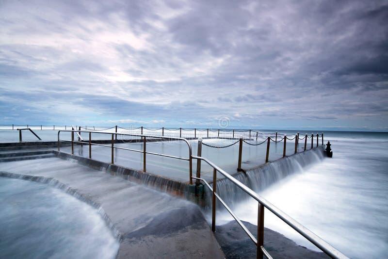 溢出的风大浪急的海面 免版税库存照片