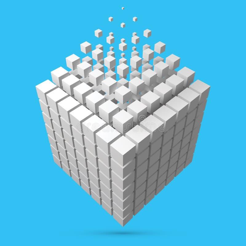 溶化对小立方体的大立方体scructure 3d样式传染媒介例证 库存例证