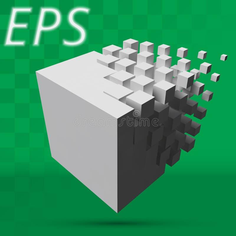 溶化对更小的立方体的更大的立方体 有透明背景 皇族释放例证