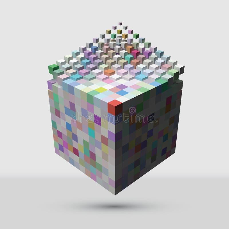 溶化对更小的立方体的更大的立方体 库存例证