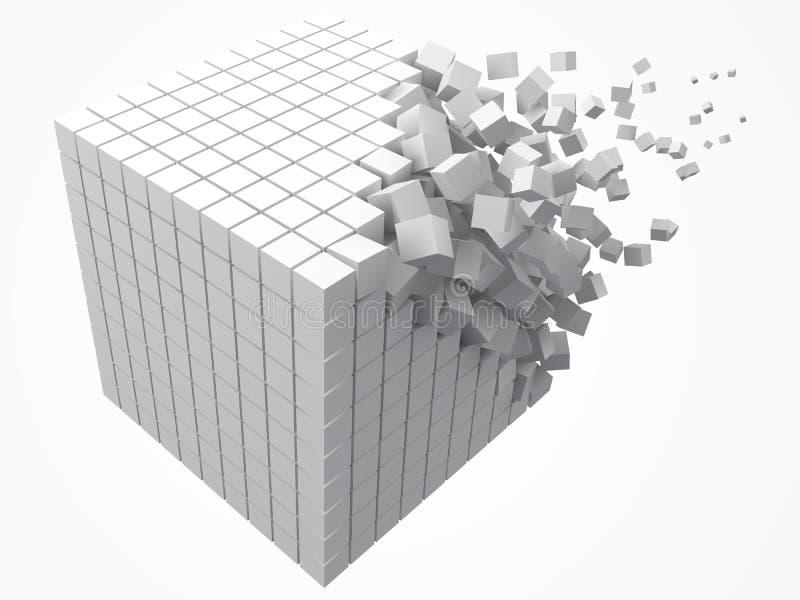溶化的数据块 用更小的白色立方体做 3d映象点样式传染媒介例证 皇族释放例证