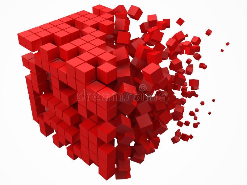 溶化的数据块 用更小的红色立方体做 3d映象点样式传染媒介例证 皇族释放例证