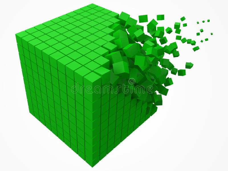 溶化的数据块 用更小的绿色立方体做 3d映象点样式传染媒介例证 库存例证