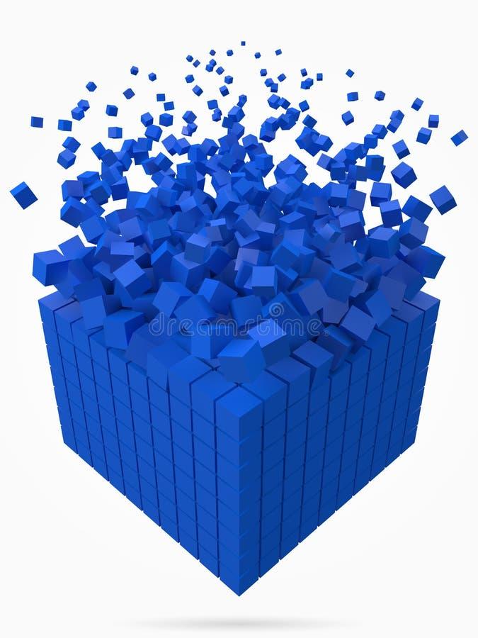 溶化的数据块 用更小的蓝色立方体做 3d映象点样式传染媒介例证 库存例证