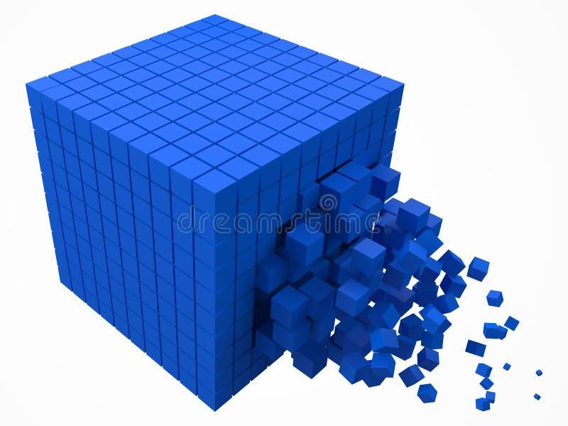 溶化的数据块 用更小的蓝色立方体做 3d映象点样式传染媒介例证 向量例证