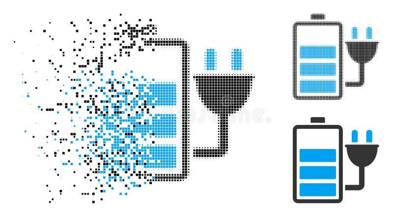 溶化的映象点半音充电电池象 库存例证