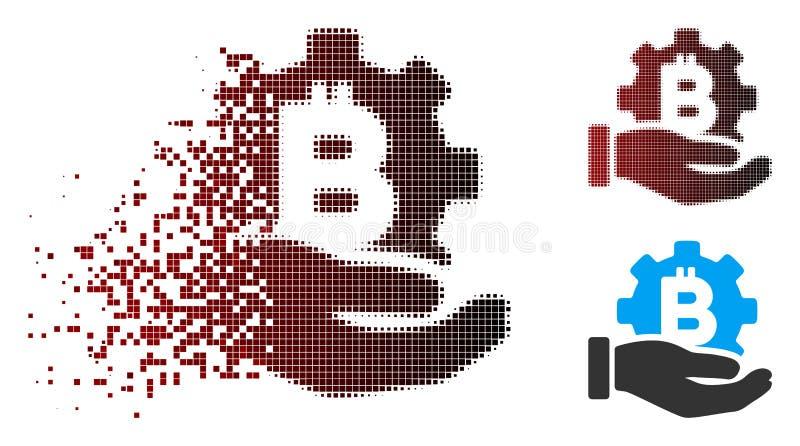 溶化的映象点半音Bitcoin发展服务手象 库存例证