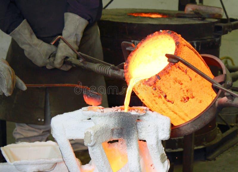 溶解铸造厂的金属倾吐 免版税库存照片