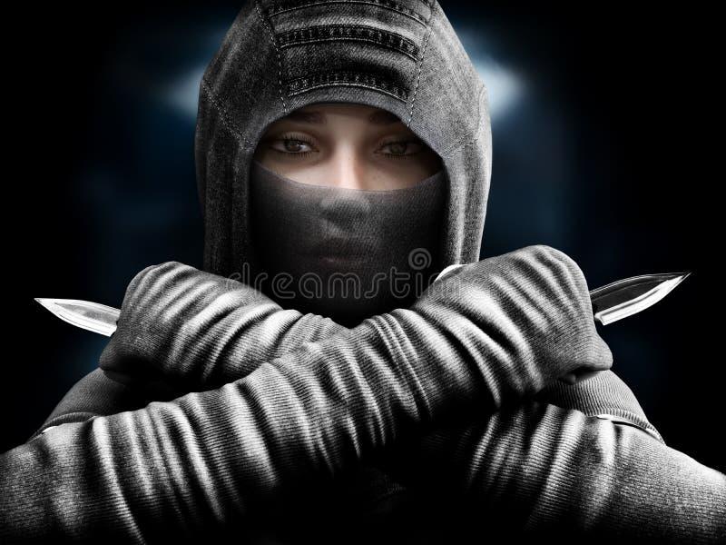 滑倒从阴影的女性刺客关闭在我们她的目标 库存例证