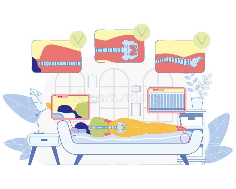 滑倒在矫形床垫传染媒介概念 皇族释放例证