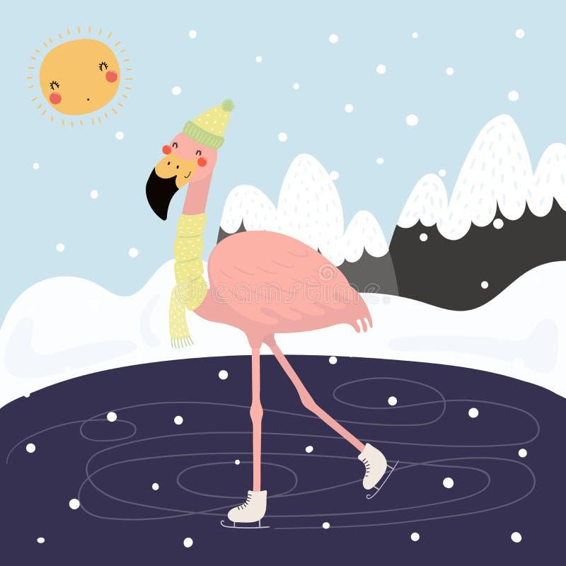 滑冰在冬天的逗人喜爱的火鸟 向量例证