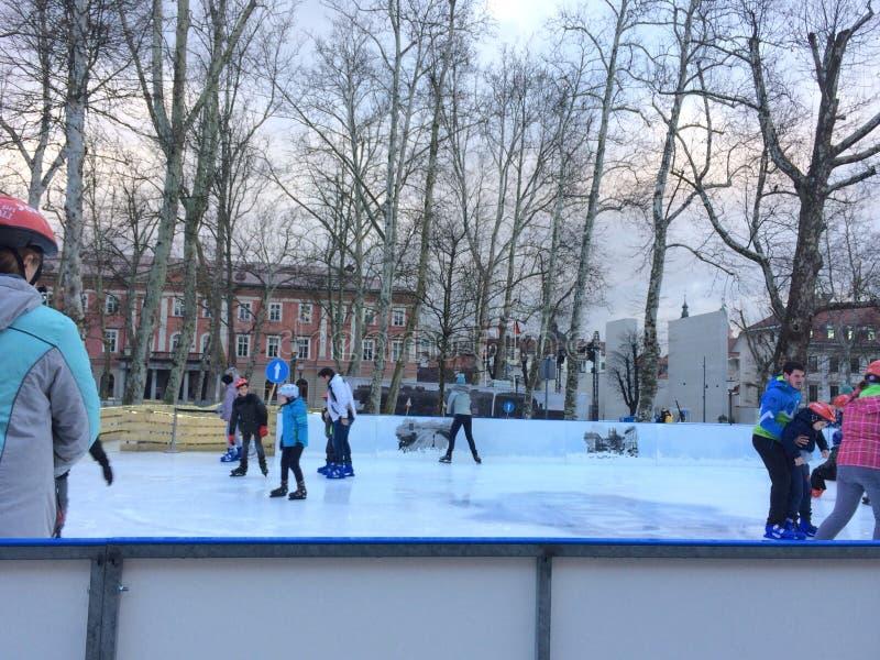 滑冰在大广场 库存照片
