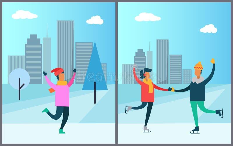 滑冰在桃红色毛线衣红色帽子的溜冰场人的夫妇 皇族释放例证