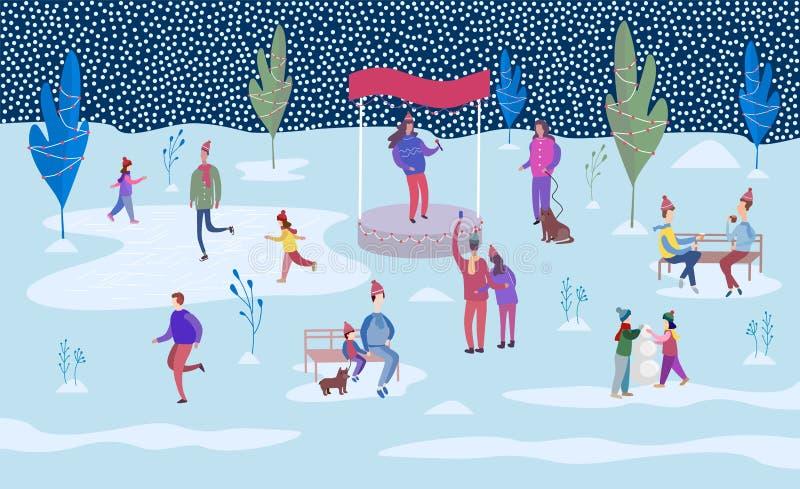 滑冰在溜冰场和走在装饰的树之间的人们 库存例证