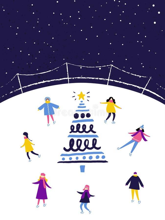 滑冰在滑冰场的人们在晚上在装饰的圣诞树附近 冬天场面,平的例证 皇族释放例证