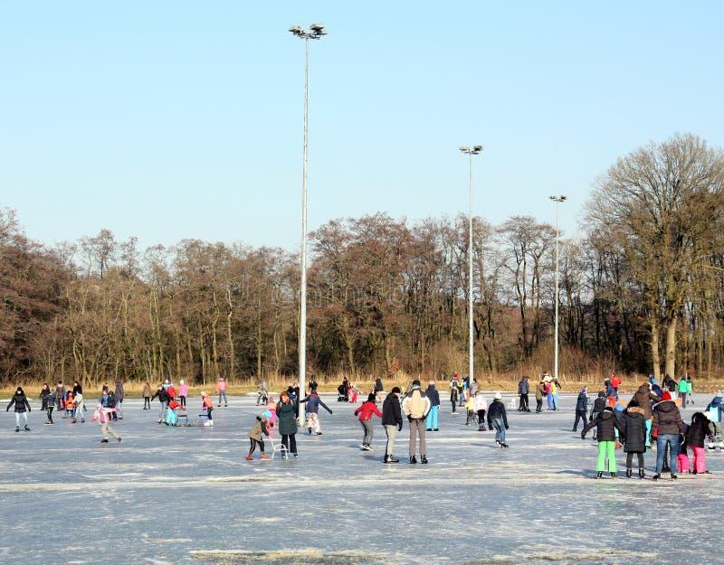 滑冰在滑冰场 库存照片