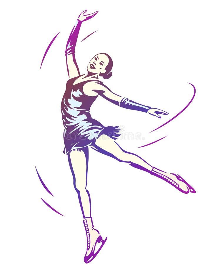 滑冰妇女的形象 向量例证