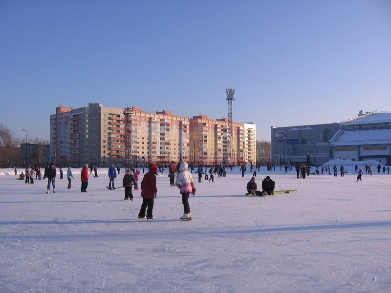 滑冰快乐的孩子在冬天乘坐在大溜冰场新西伯利亚黎明 免版税库存照片