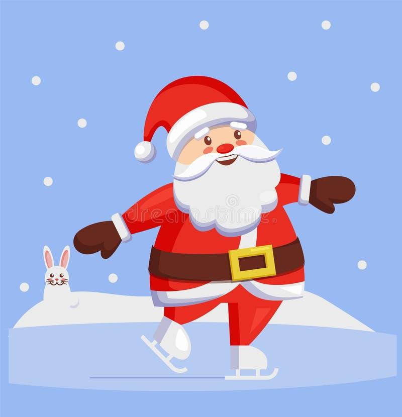 滑冰的圣诞老人户外冬季体育传染媒介 皇族释放例证