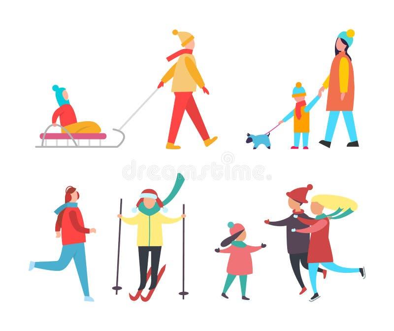 滑冰的滑雪的人冬天活动传染媒介 皇族释放例证