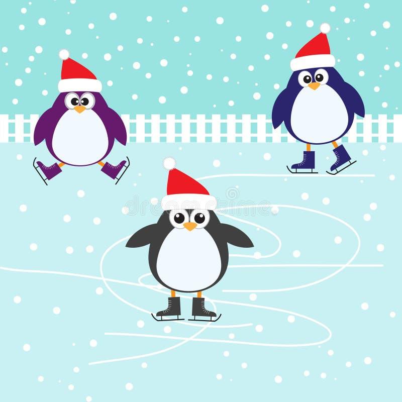 滑冰逗人喜爱的企鹅 库存例证