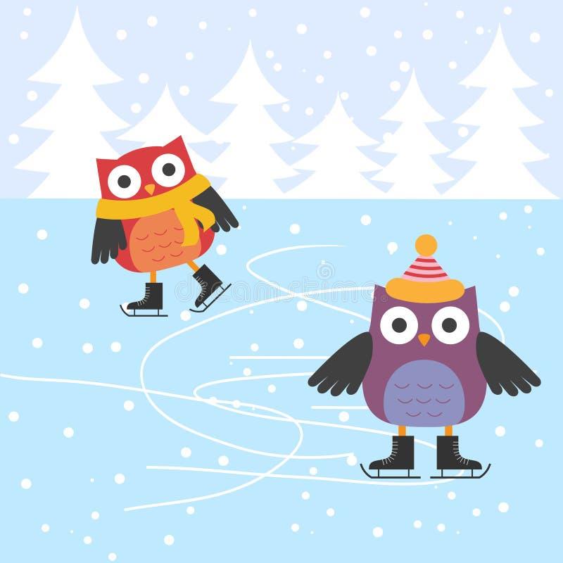 滑冰逗人喜爱的猫头鹰 库存例证