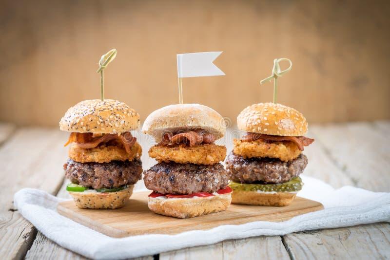 滑子发牢骚分享食物的高微型汉堡 图库摄影