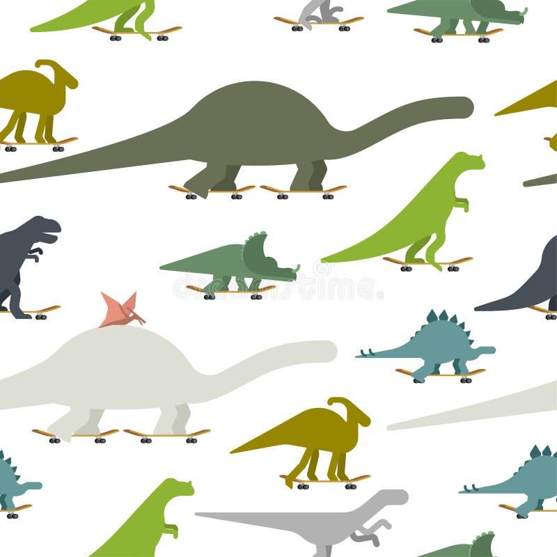 滑板无缝集合的样式的迪诺 恐龙溜冰板者背景 史前蜥蜴妖怪骑马longboard 库存例证