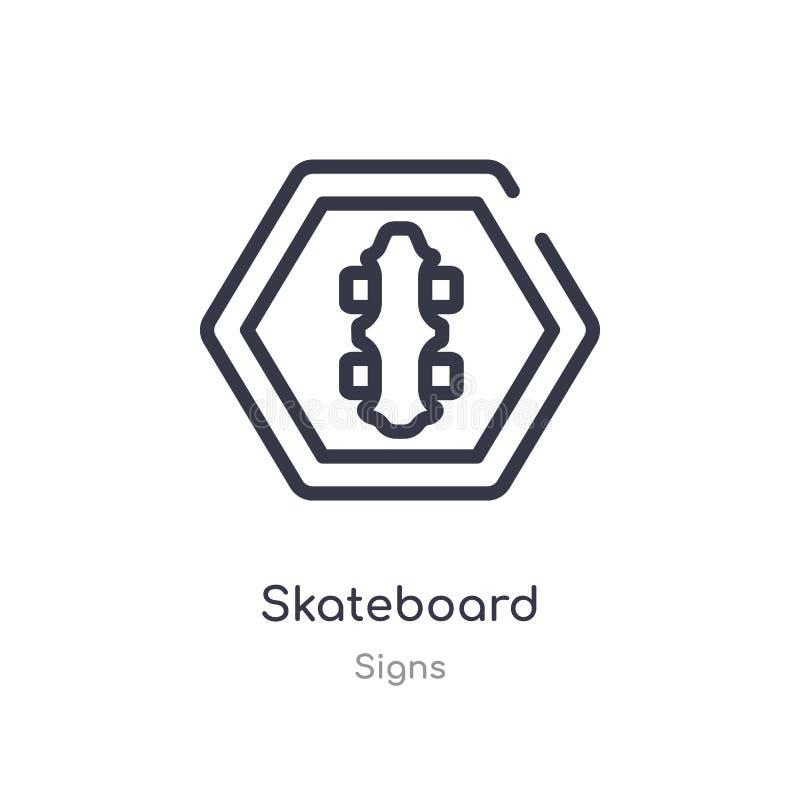 滑板概述象 r 在白色的编辑可能的稀薄的冲程滑板象 库存例证