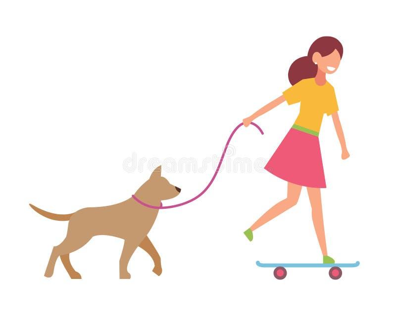 滑板的一个女孩运载与她的一条狗 导航在简单的样式的例证在白色被隔绝的背景 皇族释放例证