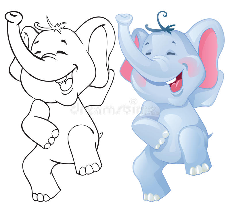 滑稽动画片的大象 库存例证