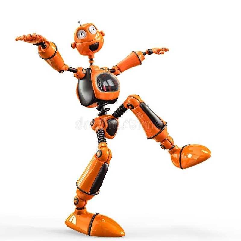 滑稽和光滑的机器人动画片 皇族释放例证