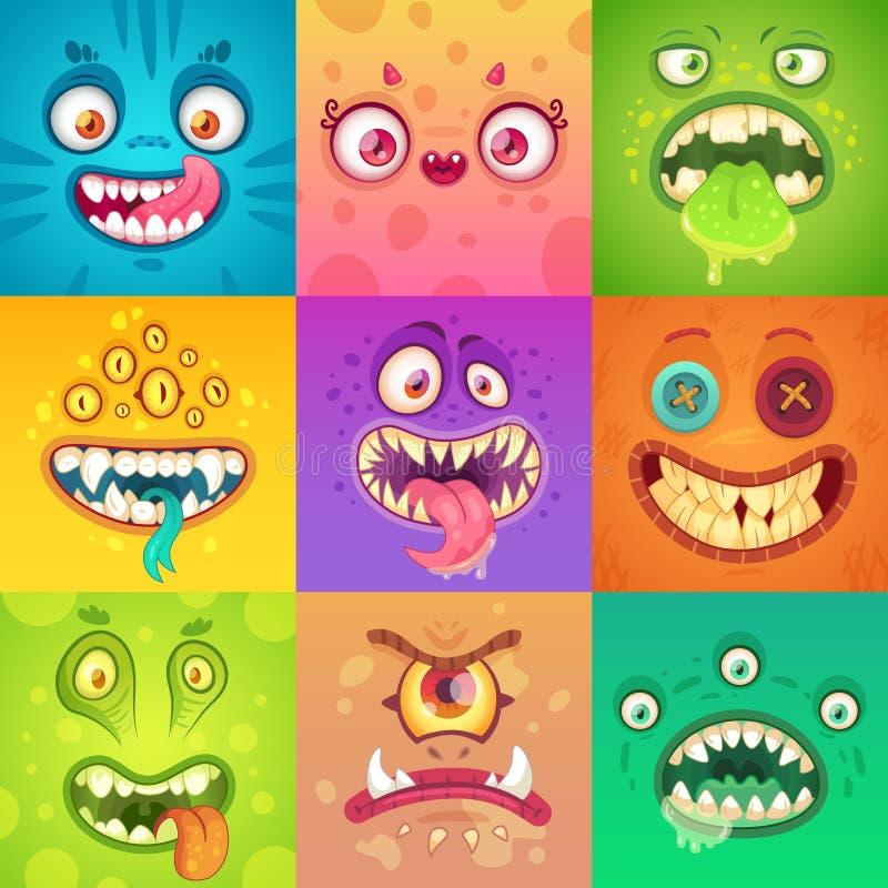 滑稽的万圣夜妖怪 与眼睛和嘴的逗人喜爱和可怕妖怪面孔 奇怪的生物吉祥人字符传染媒介 向量例证