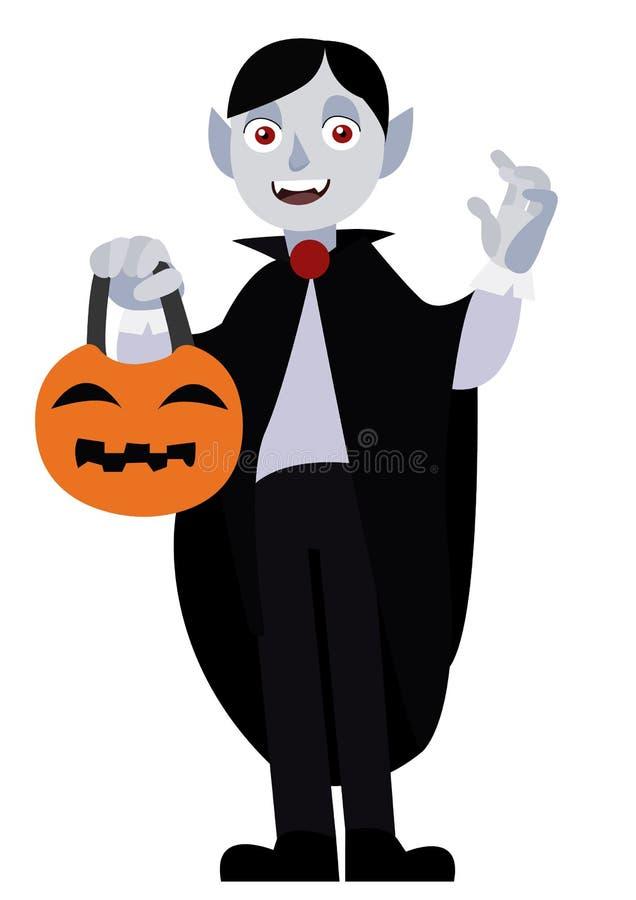 滑稽的万圣夜字符吸血鬼 动画片在白色背景隔绝的传染媒介例证 向量例证