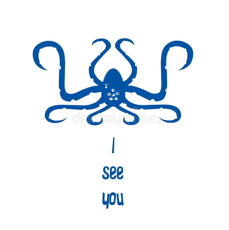 滑稽的与许多眼睛的字符蓝色章鱼 平的设计 皇族释放例证