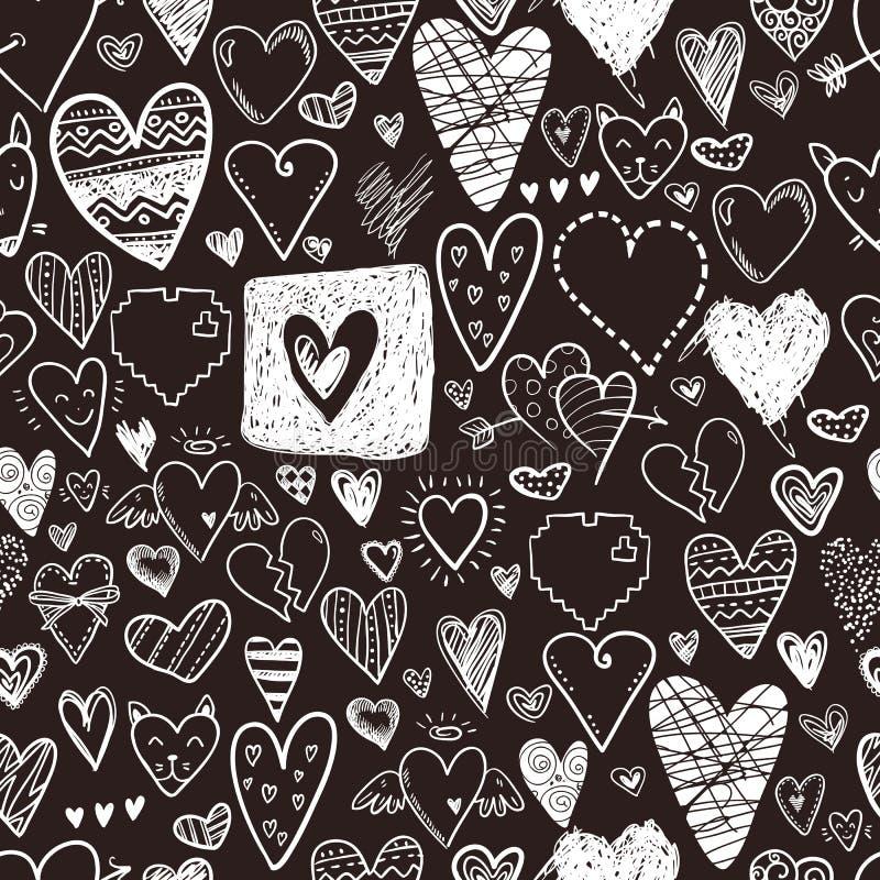 滑稽的乱画心脏象无缝的样式 手拉的华伦泰 向量例证