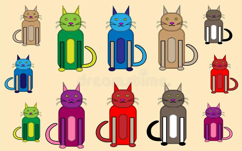 滑稽的五颜六色的猫和小猫动画片 皇族释放例证