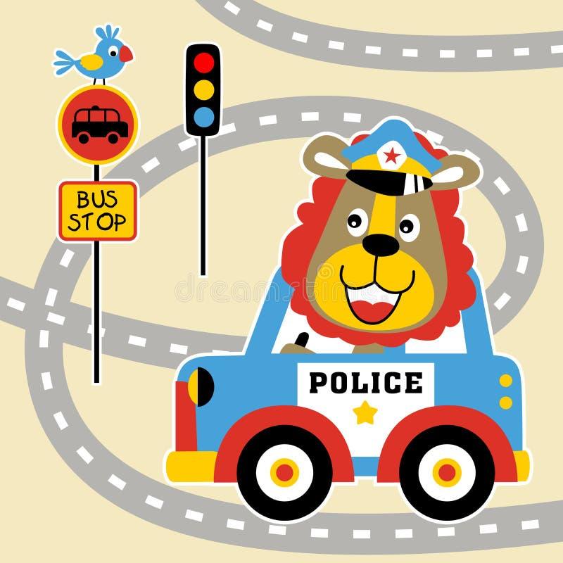 滑稽的交通警动画片 库存例证