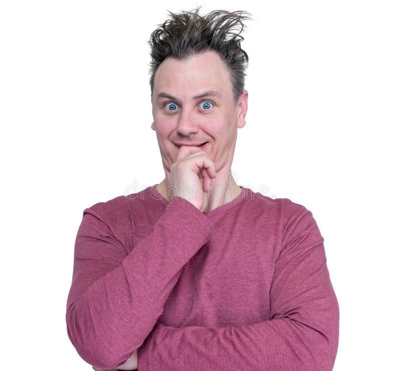 滑稽的人做鬼脸在白色背景隔绝的画象 免版税库存图片